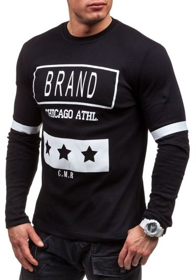 Černé pánské tričko s dlouhým rukávem a potiskem Bolf 4634