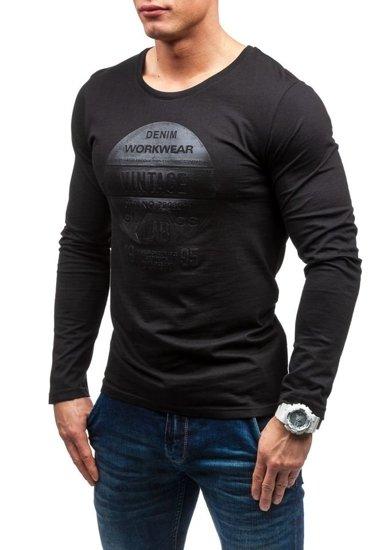 Černé pánské tričko s dlouhým rukávem a potiskem Bolf 6163