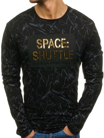Černé pánské tričko s dlouhým rukávem a potiskem Bolf SX022