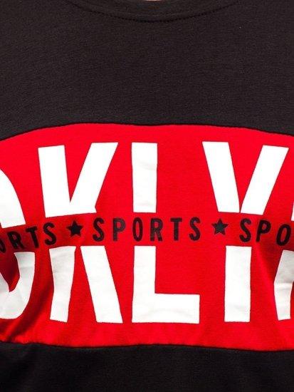 Černé pánské tričko s dlouhým rukávem a potiskem Bolf XXS1090