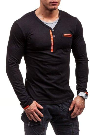 Černé pánské tričko s dlouhým rukávem bez potisku Bolf 6161