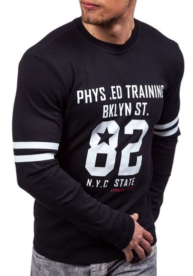Černé pánské tričko s dlouhým rukávem s potiskem Bolf 4245