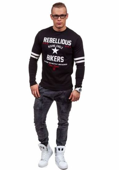 Černé pánské tričko s dlouhým rukávem s potiskem Bolf 4631