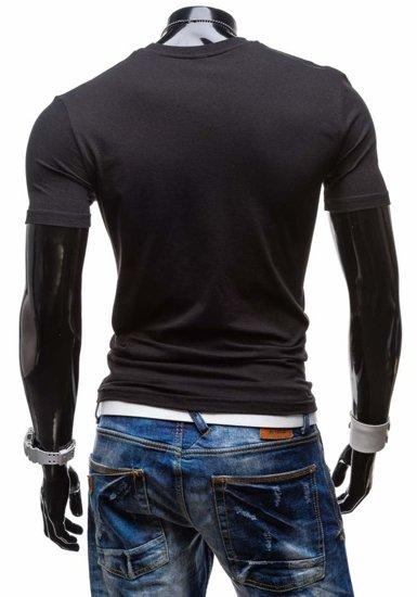 Černé pánské tričko s potiskem Bolf 3212