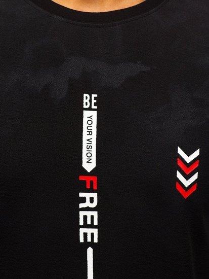 Černé pánské tričko s potiskem Bolf SS10999