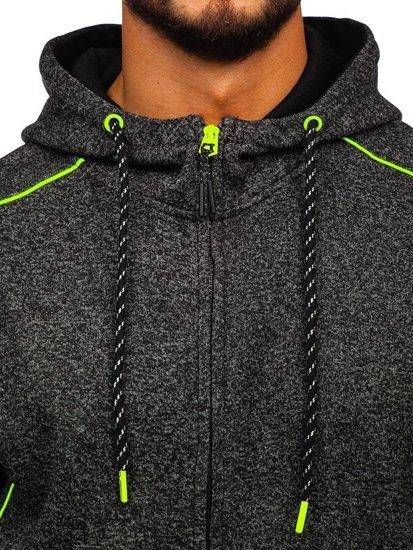 Černo-celadonová pánská mikina s kapucí Bolf 3855