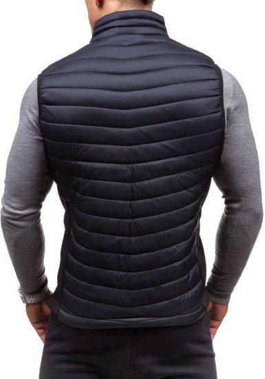 Černo-celadonová pánská vesta bez kapuce Bolf 5707