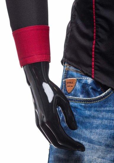 Černo-červená pánská elegantní košile s dlouhým rukávem Bolf 4720
