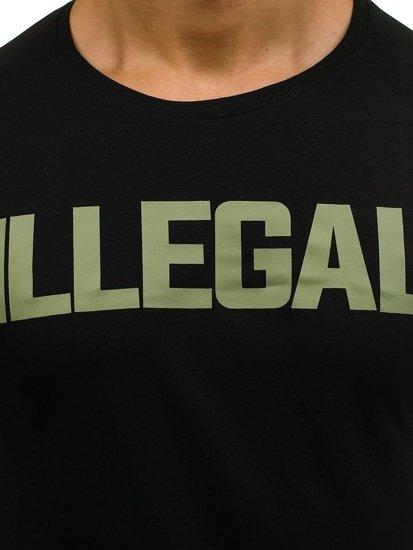 Černo-zelené pánské tričko s dlouhým rukávem Bolf 1162