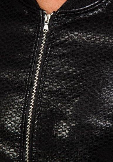 Černý pánský koženkový bomber Bolf 8980