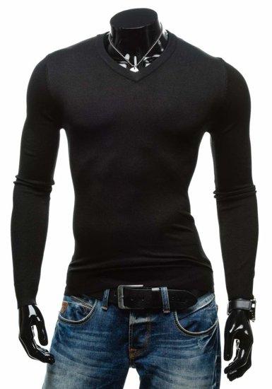 Černý pánský svetr s výstřihem do V Bolf 001