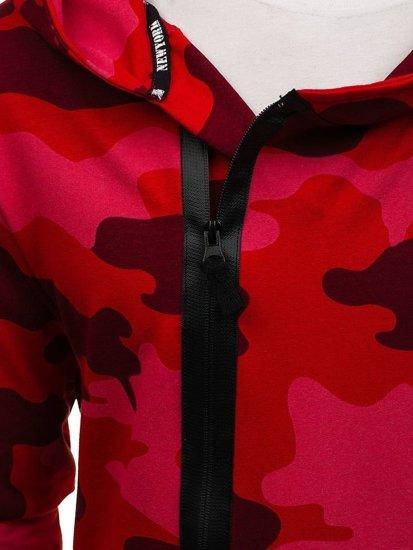 Červená pánská dlouhá mikina s kapucí a potiskem Bolf 0913