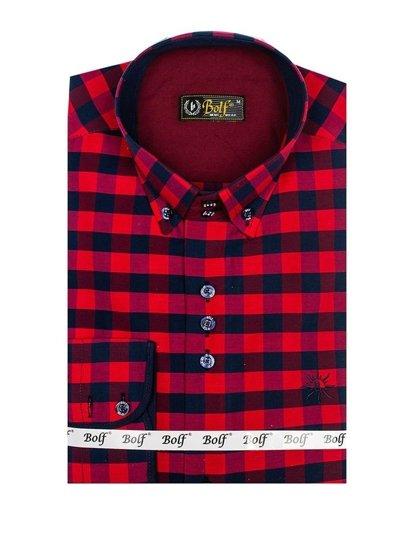 Červená pánská kostkovaná košile s dlouhým rukávem Bolf 4701