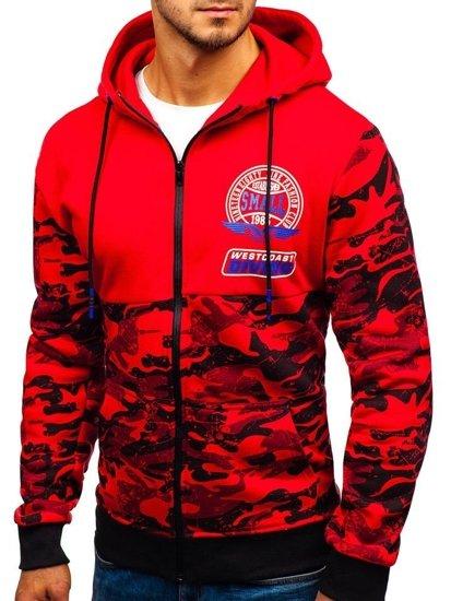 Červená pánská mikina na zip s kapucí Bolf 33011