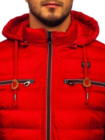 Červená pánská sportovní zimní bunda Bolf 50A172