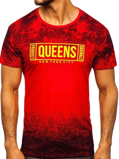 Červené pánské tričko s potiskem Bolf KS1980