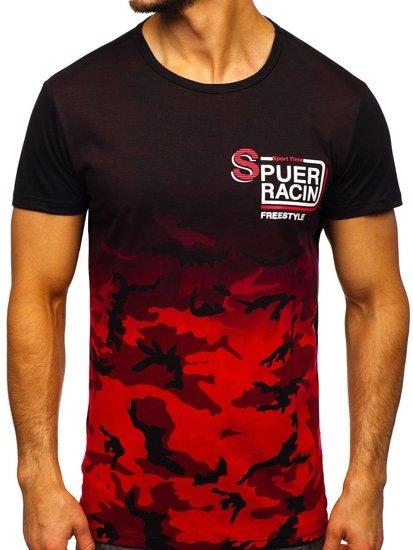 Červené pánské tričko s potiskem Bolf SS11085