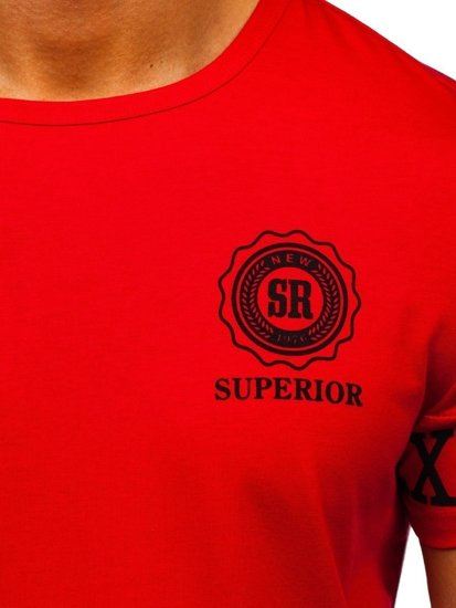 Červené pánské tričko s potiskem Bolf SS11095