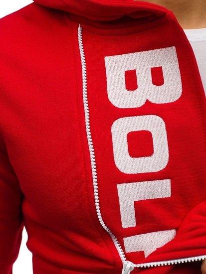 Červeno-bílá pánská mikina s kapucí a potiskem Bolf 01S