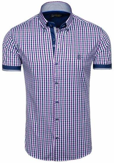 Fialová pánská kostkovaná košile s krátkým rukávem Bolf 4510