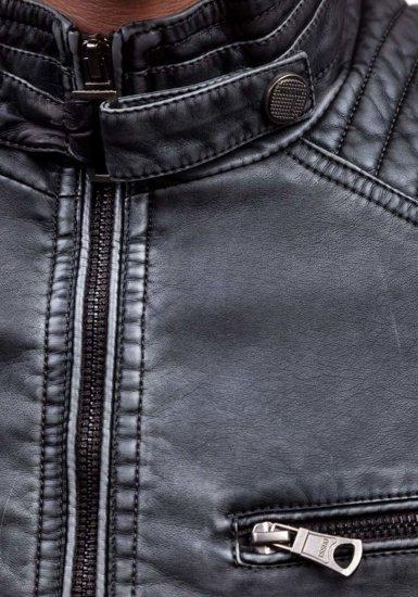 Grafitová pánská koženková bunda Bolf 1773C