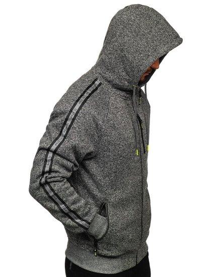 Grafitová pánská mikina na zip s kapucí Bolf TC1000