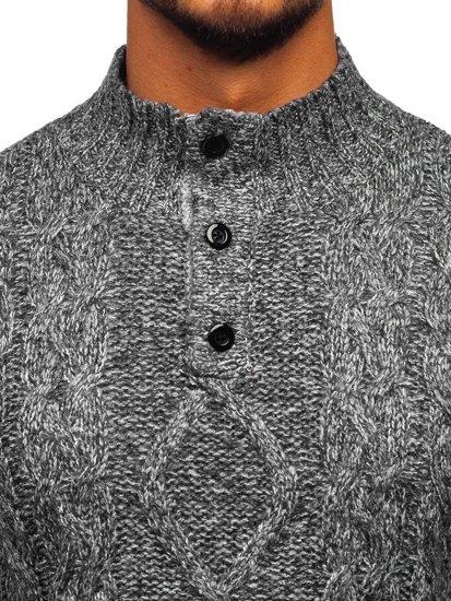 Grafitový pánský svetr Bolf P088