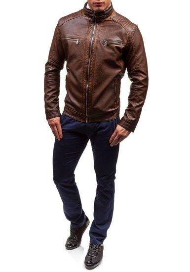 Hnědá pánská kožená bunda z ekokůže Bolf EX308