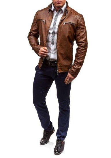 Hnědá pánská koženková bunda Bolf EX306