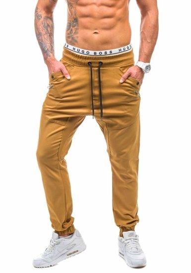 Hnědé pánské džínové jogger kahoty Bolf 0425