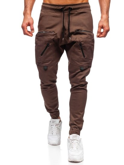Hnědé pánské jogger kalhoty Bolf 0956