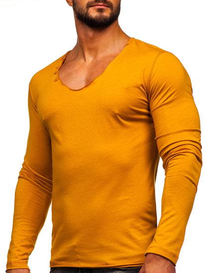 Hořčícové pánské tričko s dlouhým rukávem bez potisku Bolf 547