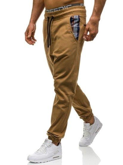 Kamelové pánské jogger kalhoty Bolf 0449