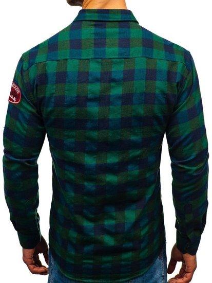 Khaki pánská flanelová košile s dlouhým rukávem Bolf 2503