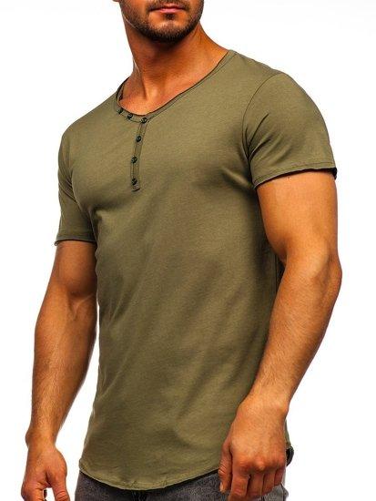 Khaki pánské tričko bez potisku s výstřihem do V Bolf 4049