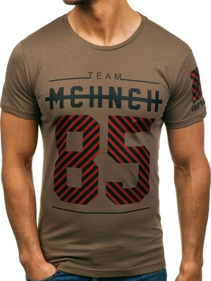 Khaki pánské tričko s potiskem Bolf 2082