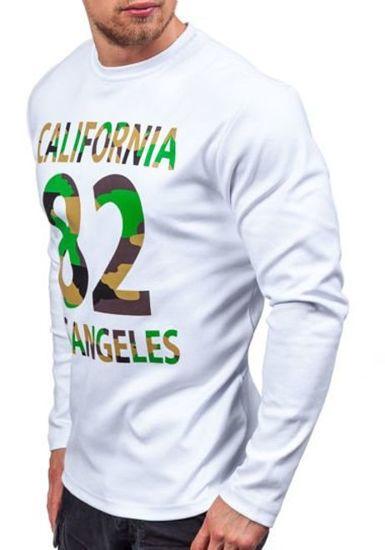Maskáčovo-bílé pánské tričko s dlouhým rukávem s potiskem Bolf 4630