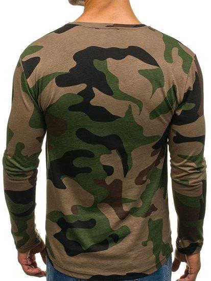 Maskáčovo-khaki pánské tričko s dlouhým rukávem a potiskem Bolf 1087