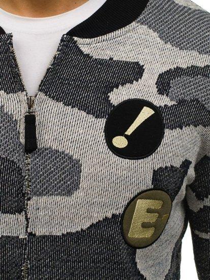 Maskáčovo-šedá pánská mikina bomber bez kapuce Bolf 0894