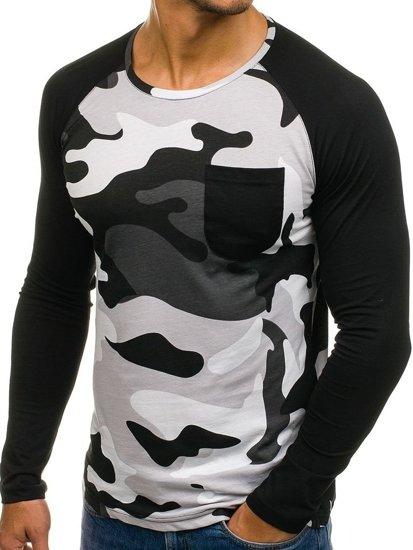 Maskáčovo-šedé pánské tričko s dlouhým rukávem a potiskem Bolf 1089-1