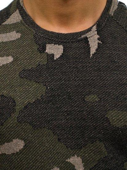 Maskáčovo-zelená pánská mikina bez kapuce Bolf 2039