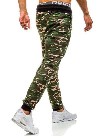 Maskáčovo-zelené pánské tepláky jogger Bolf 5121