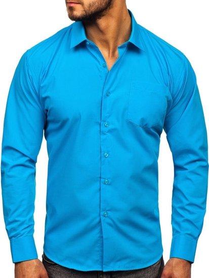 Modrá pánská elegantní košile s dlouhým rukávem Bolf 0003