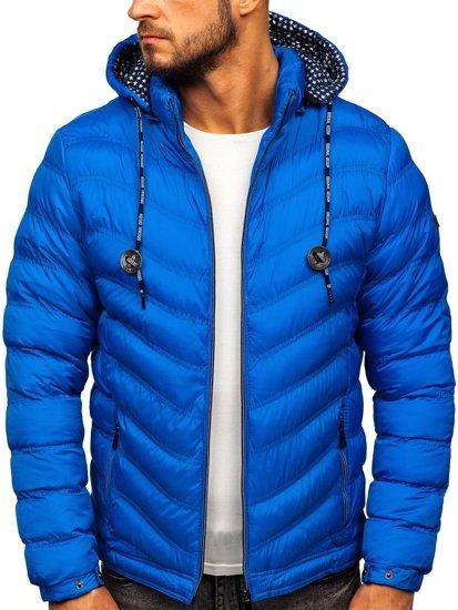 Modrá pánská prošívaná sportovní zimní bunda Bolf 50A255