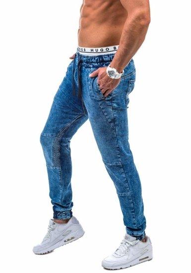 Modré pánské jogger kalhoty Bolf 803