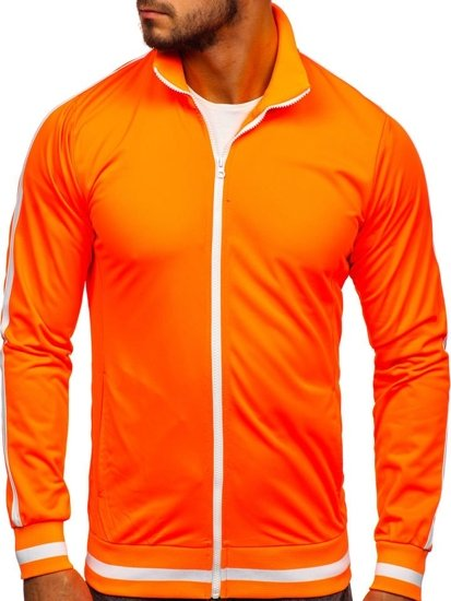 Oranžová pánská mikina na zip bez kapuce retro style Bolf 2126