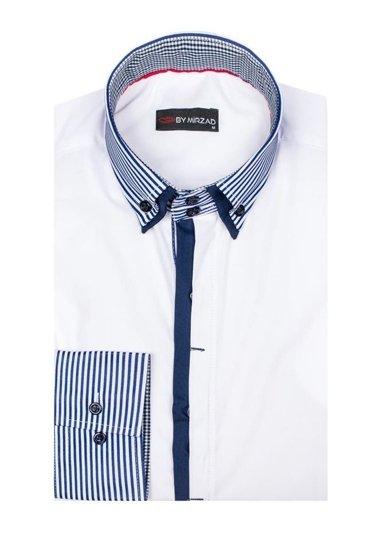Pánská bílá košile s dlouhým rukávem Bolf 5727