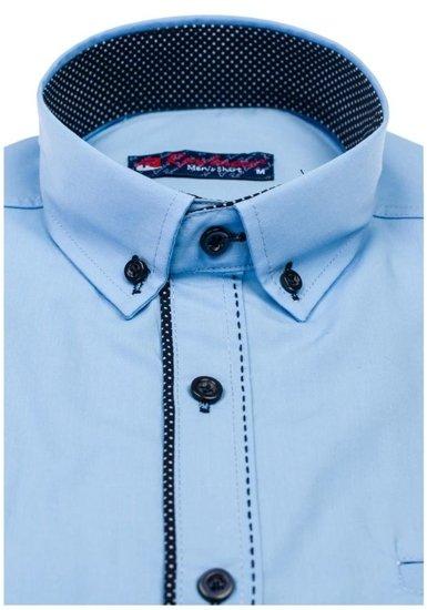 Pánská blankytná elegantní košile s dlouhým rukávem Bolf 784