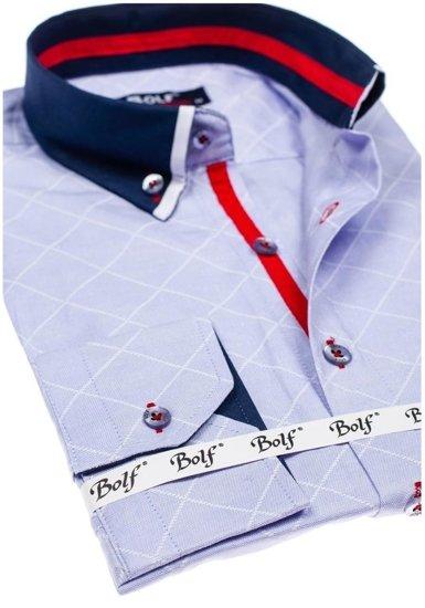 Pánská blankytná vzorovaná košile s dlouhým rukávem Bolf 6931