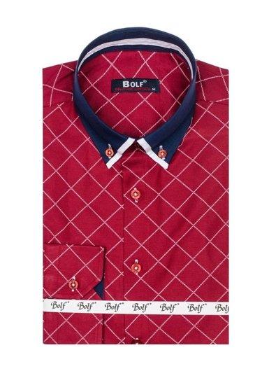 Pánská bordová vzorovaná košile s dlouhým rukávem Bolf 6931